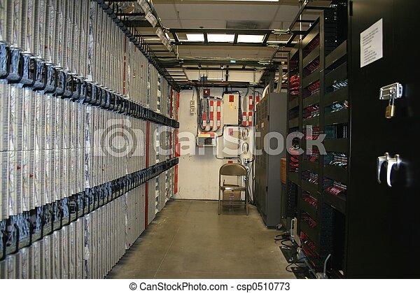 Telecom room. Telecom and data main distribution frame.