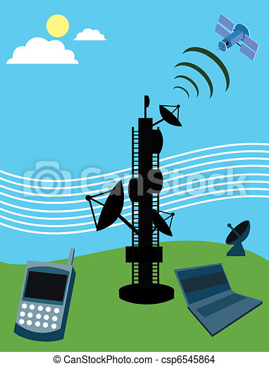 Telecom tower with satellite; laptop and mobile phone - csp6545864