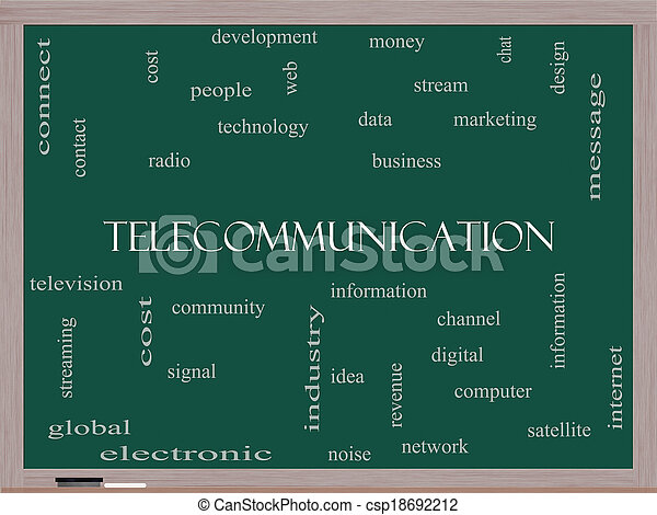 Telecommunication Word Cloud Concept on a Blackboard - csp18692212