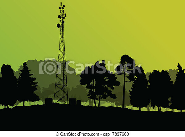 Telecommunications mobile phone base station radio tower with engineers in industrial concept background vector - csp17837660