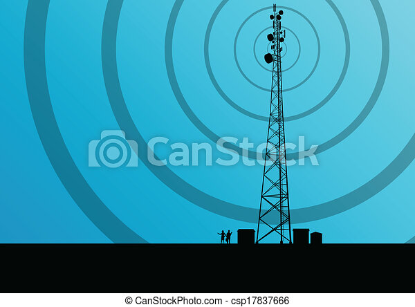 Telecommunications mobile phone base station radio tower with engineers in industrial concept background vector - csp17837666