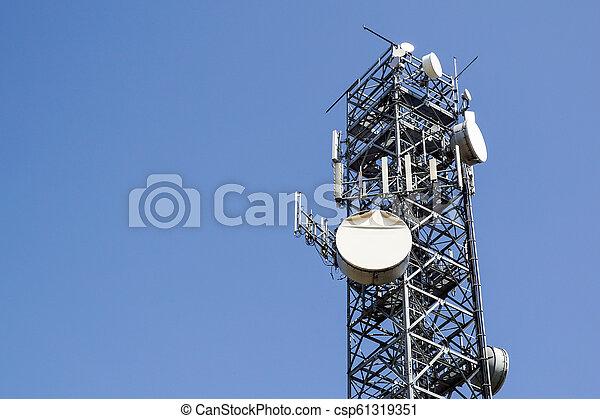 Telecommunications tower . antenna Mobile phone base station - csp61319351
