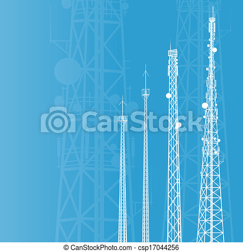 Telecommunications tower, radio or mobile phone base station vector background - csp17044256