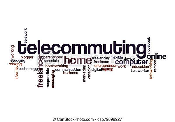 Telecommuting word cloud concept - csp79899927