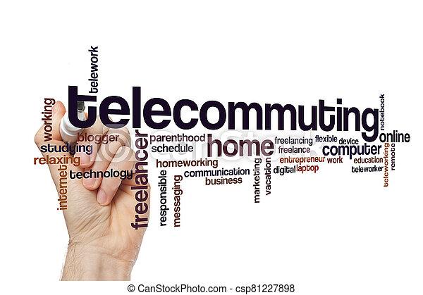 Telecommuting word cloud concept - csp81227898
