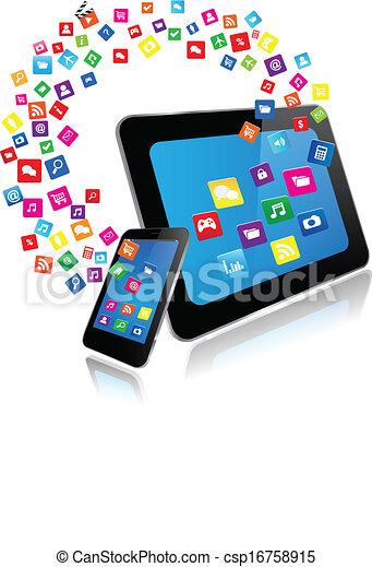 telefon, apps, klug, tablette pc - csp16758915