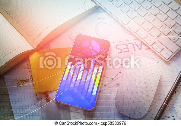 telefon, forex, wykres, biurko - csp58380976