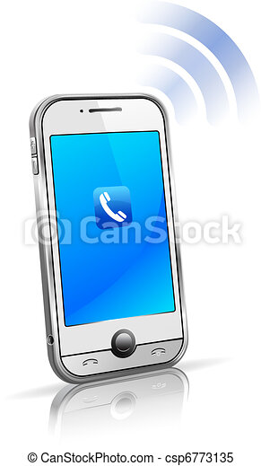 telefon, komórka, mądry, 3d, ruchomy - csp6773135