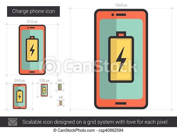 Telefon, ladung, linie, icon. Website, telefon, system.,... EPS ...