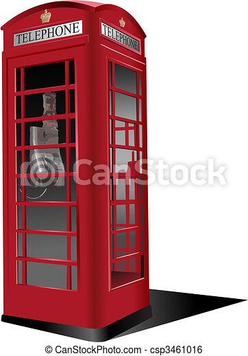 telefon, publiczność, londyn, box., wektor, czerwony, ilustracja - csp3461016