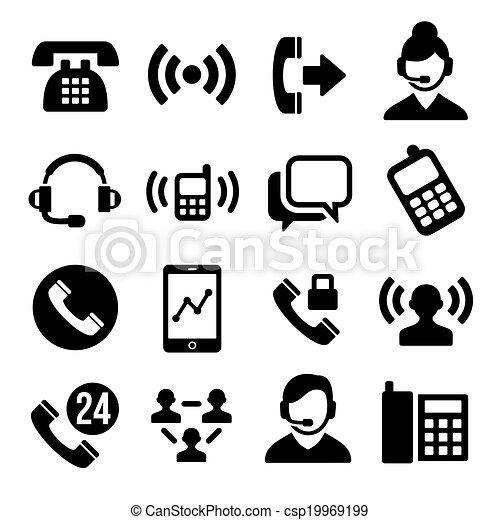 Telefon- und Callcenter-Icons eingestellt - csp19969199