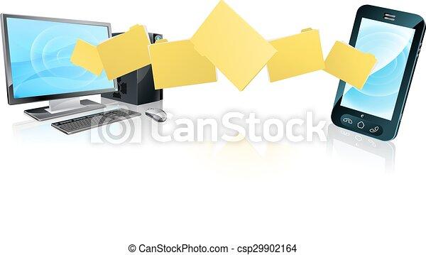 telefone, computador, transferência, arquivo - csp29902164