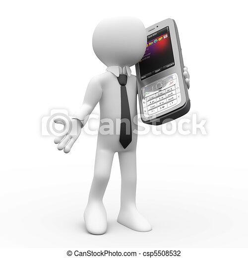telefone, conversa homem, móvel - csp5508532
