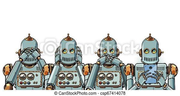 telefone, isole, robô, fundo, internet, branca, concept., vício - csp67414078