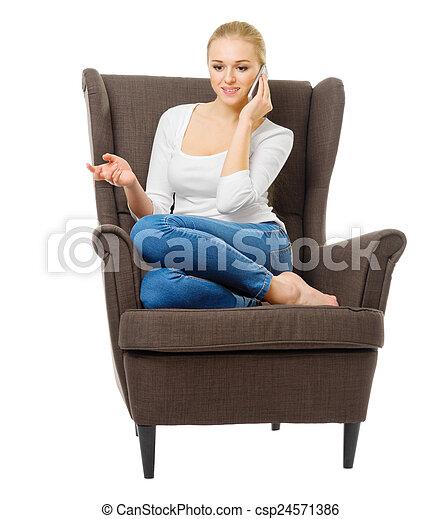 telefone móvel, menina, cadeira, jovem - csp24571386