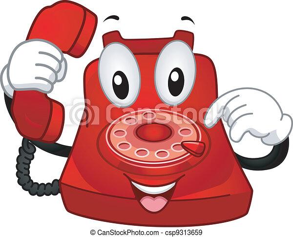 telefone, mascote - csp9313659