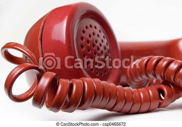 telefone, vermelho, receptor - csp0465672