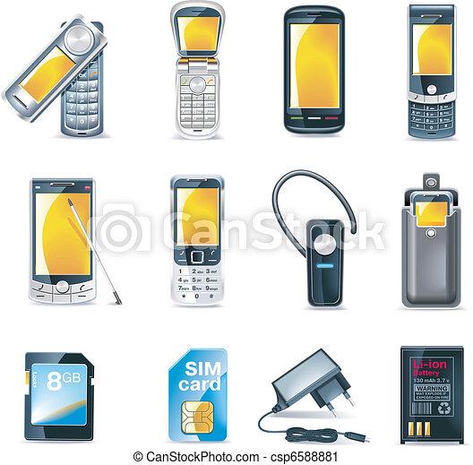 telefoni mobili, vettore, set, icona - csp6588881