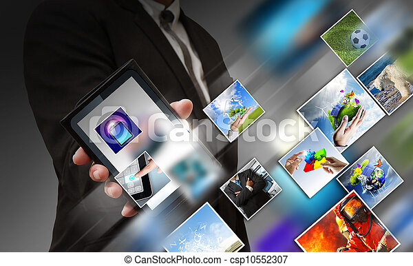 telefono affari, mobile, schermo, mano, flusso continuo, immagini, tocco, mostra - csp10552307