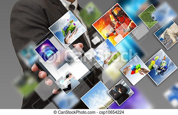 telefono affari, mobile, schermo, mano, flusso continuo, immagini, tocco, mostra - csp10654224