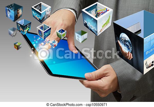 telefono affari, mobile, schermo, mano, flusso continuo, immagini, tocco, mostra - csp10550971