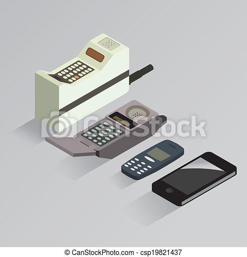 telefono cellulare, evoluzione, vettore - csp19821437