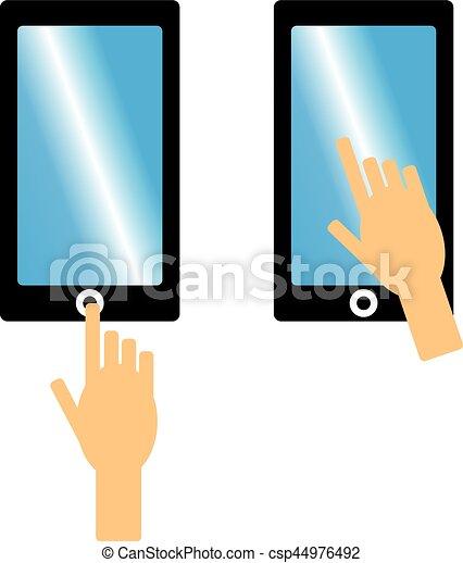 Telefono Cellulare Sfondo Bianco Mano Illustration Telefono