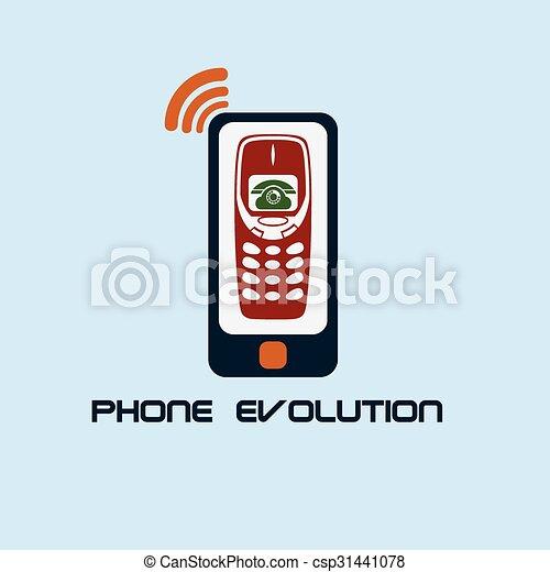 telefono, evoluzione, disegno, appartamento - csp31441078