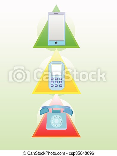 telefono, evoluzione, set - csp35648096