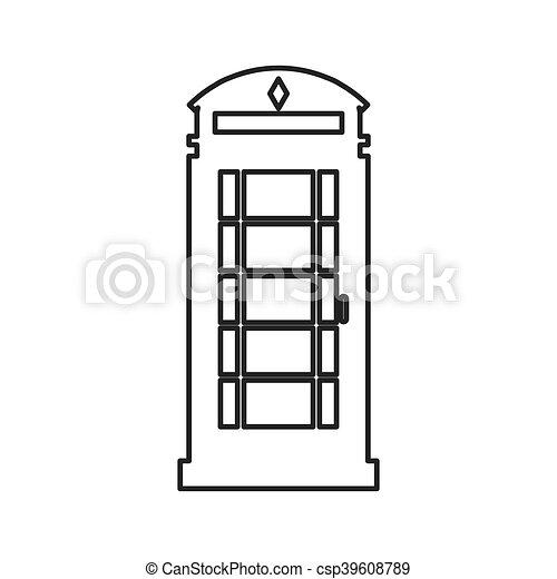 Telefono Inglese Cabina Icona Appartamento Illustrazione Telefono Vettore Disegno Cabina Inglese Icona Canstock
