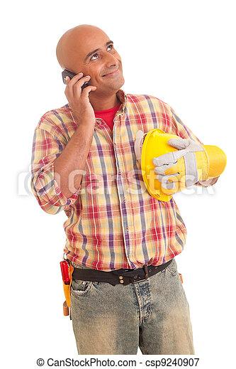 telefono, lavoratore costruzione - csp9240907