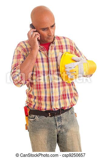 telefono, lavoratore costruzione - csp9250657