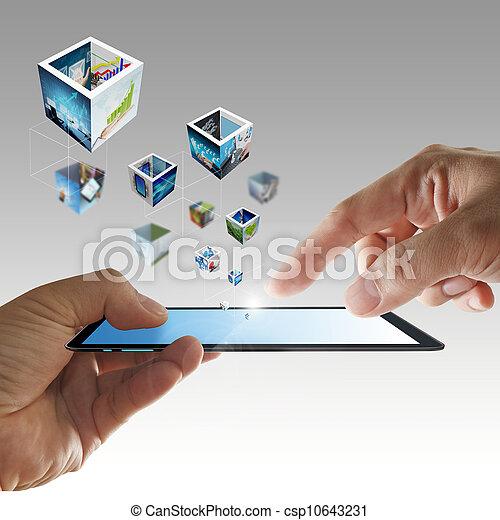 telefono, mobile, mano, flusso continuo, immagini, 3d - csp10643231