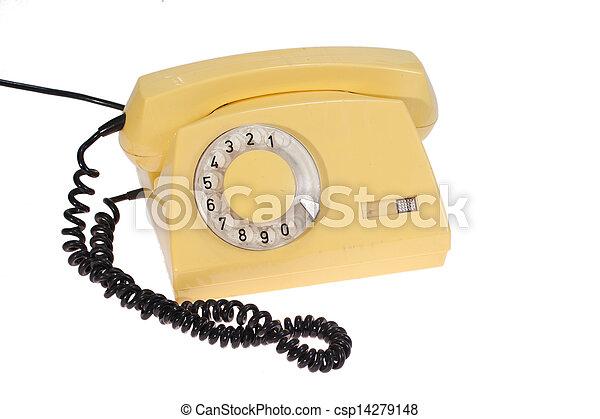 telefono, retro, giallo - csp14279148