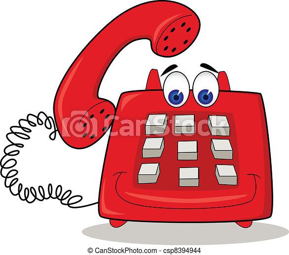 telefono, rosso, cartone animato - csp8394944