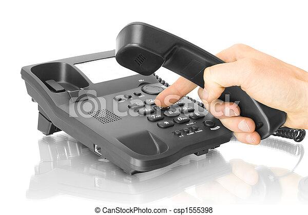 telefono, ufficio, mano - csp1555398