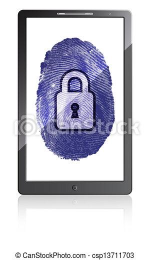 telefoon, beweeglijk, hangslot, achtergrond, vingerafdruk, witte  - csp13711703