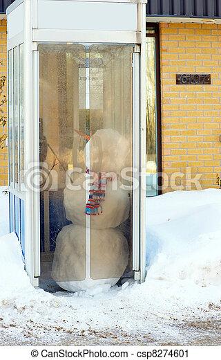 telefoon, booth., sneeuwpop - csp8274601