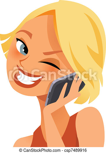 telefoon, vrolijke  - csp7489916