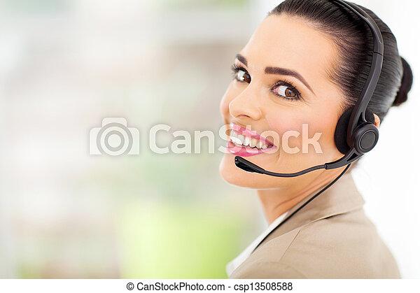 telemarketer, option att köpa centrera, hörlurar med mikrofon - csp13508588