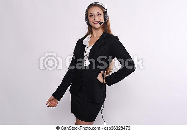 Telemarketer woman - csp36328473