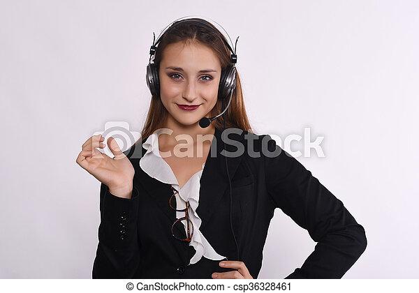 Telemarketer woman - csp36328461