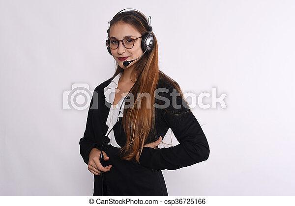 Telemarketer woman - csp36725166