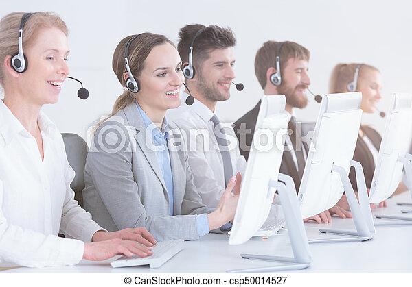 Telemarketers at work - csp50014527