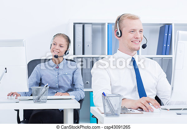 Telemarketers during phone call - csp43091265