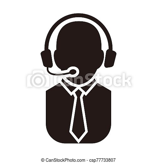telemarketers icon, Customer Service Icon User With Headphone. - csp77733807