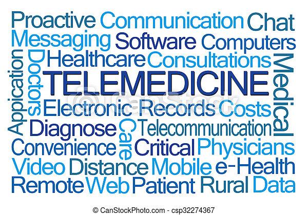 telemedicine, mot, nuage - csp32274367