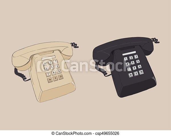 telephone., 型, 古い, レトロ - csp49655026
