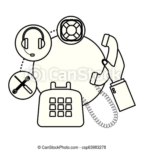 Telephone Assistance Icon Assistance Tools Headset Lifebouy Drawing In White Background Vector Illustration Graphic Design