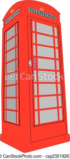 A vintage british red public telephone box isolated on white.